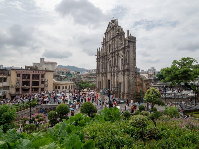 Ruines de cath?drale du ` s de St Paul dans Macao images libres de droits