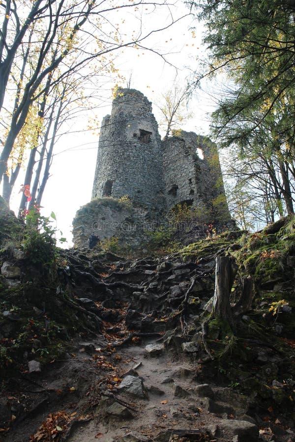 Ruines de château de Starhrad dans la région d'ilina de ½ de Å photos libres de droits