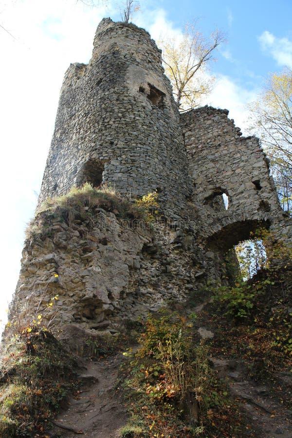 Ruines de château de Starhrad dans la région d'ilina de ½ de Å photographie stock