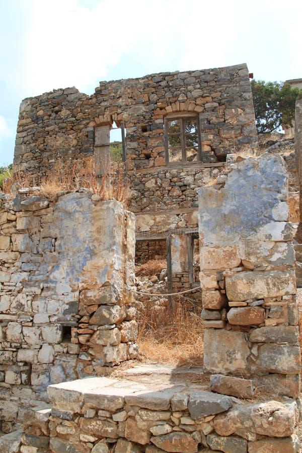 Ruines de Chambre, forteresse de colonie de lépreux de Spinalonga, Elounda, Crète images libres de droits