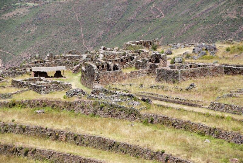 Ruines de citadelle antique d'Inkas sur la montagne, Pisac, Pérou photos libres de droits