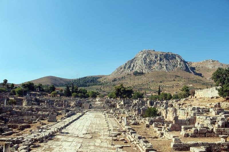 Ruines de Corinthe antique image libre de droits