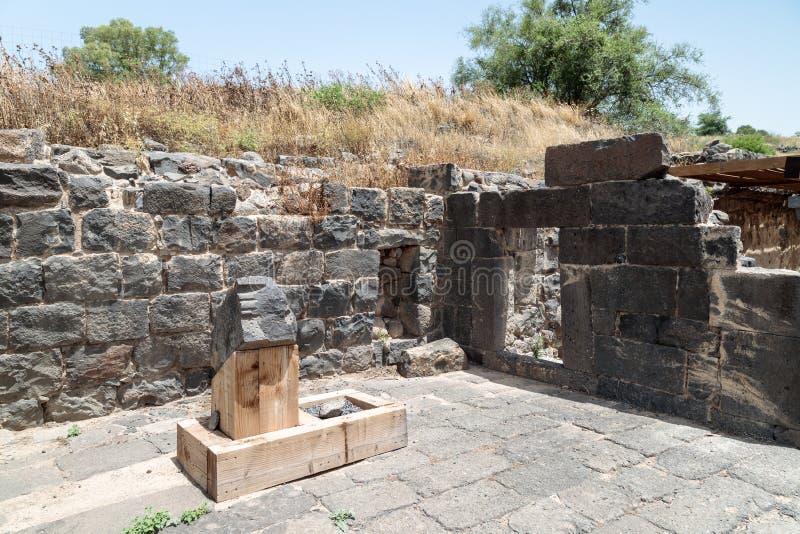 Ruines de Dir Aziz Synagogue, construites pendant la période bizantine, au début de l'ANNONCE du 6ème siècle Il est situé sur le  photo stock