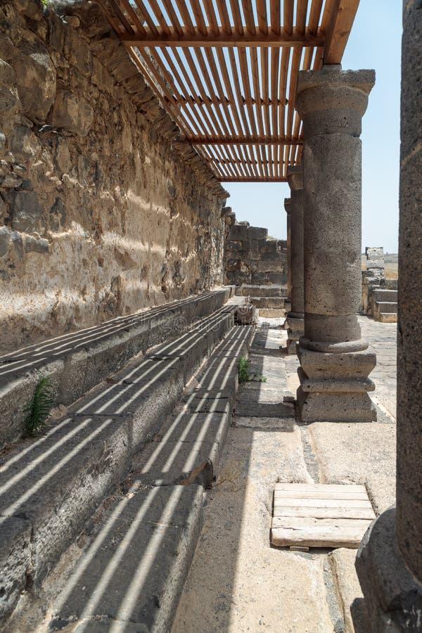Ruines de Dir Aziz Synagogue, construites pendant la période bizantine, au début de l'ANNONCE du 6ème siècle Il est situé sur le  photos libres de droits