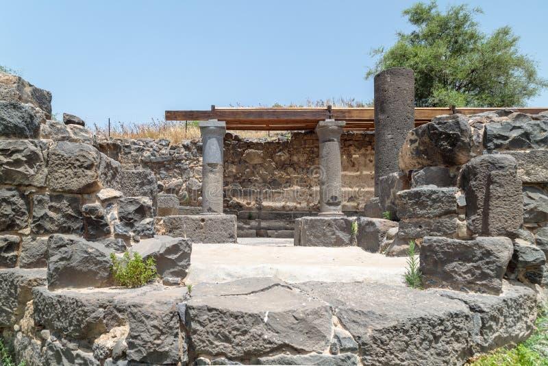 Ruines de Dir Aziz Synagogue, construites pendant la période bizantine, au début de l'ANNONCE du 6ème siècle Il est situé sur le  images libres de droits