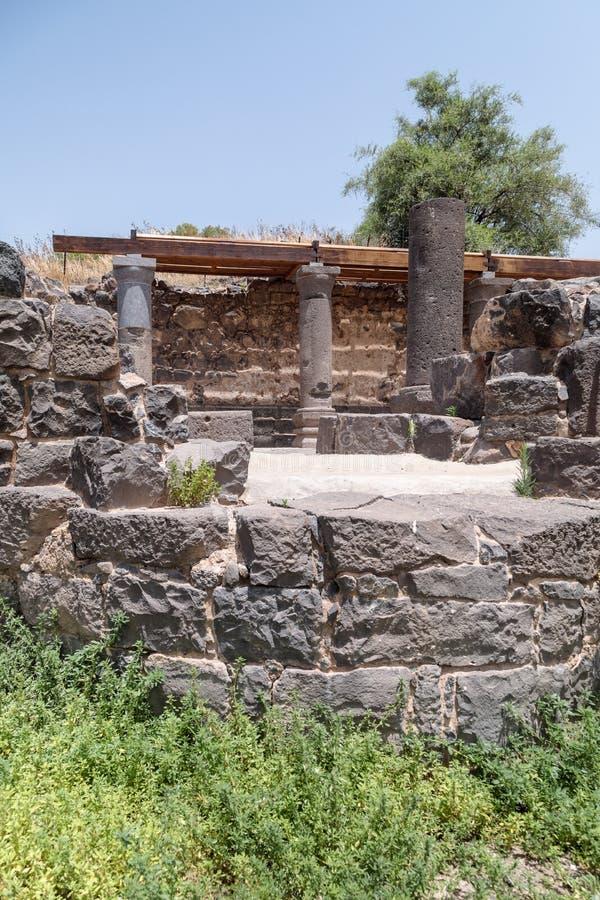 Ruines de Dir Aziz Synagogue, construites pendant la période bizantine, au début de l'ANNONCE du 6ème siècle Il est situé sur le  photographie stock libre de droits