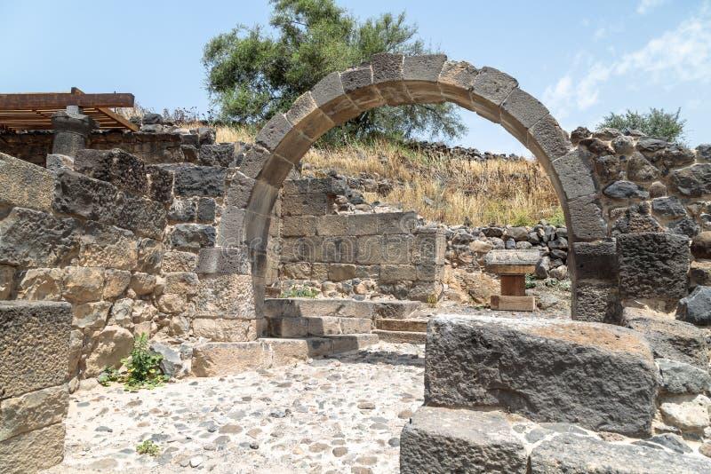 Ruines de Dir Aziz Synagogue, construites pendant la période bizantine, au début de l'ANNONCE du 6ème siècle Il est situé sur le  image stock