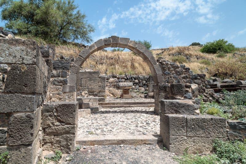 Ruines de Dir Aziz Synagogue, construites pendant la période bizantine, au début de l'ANNONCE du 6ème siècle Il est situé sur le  photos stock