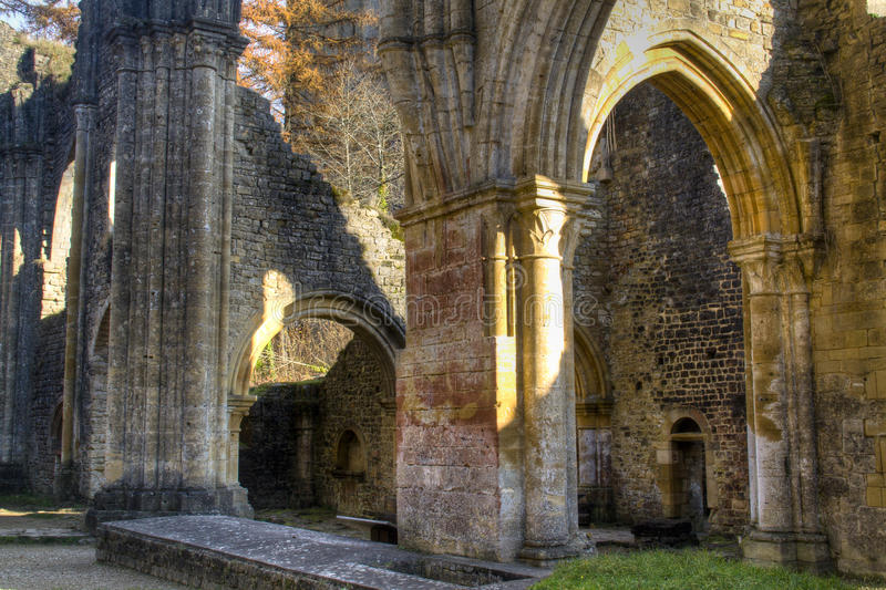 Ruines de l'abbaye d'Orval en Belgique image libre de droits