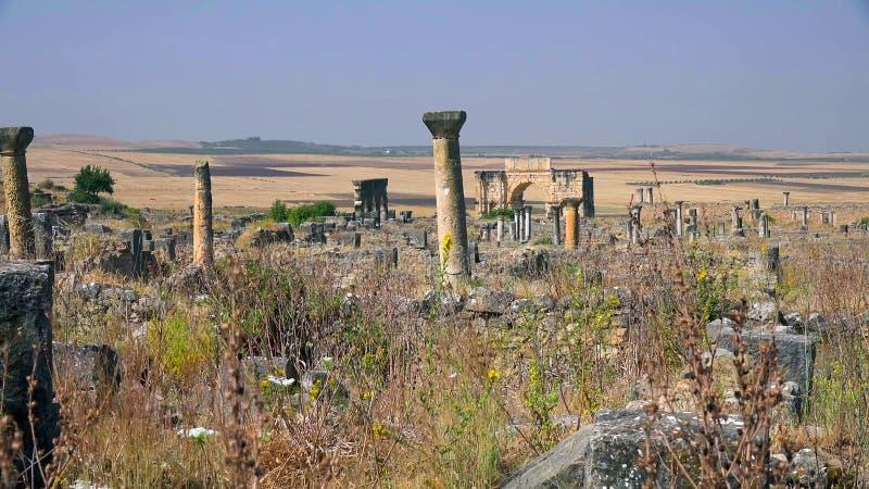 Ruines de la basilique romaine de Volubilis, un site de patrimoine mondial de l'UNESCO près de Meknes et de Fez, Maroc image stock