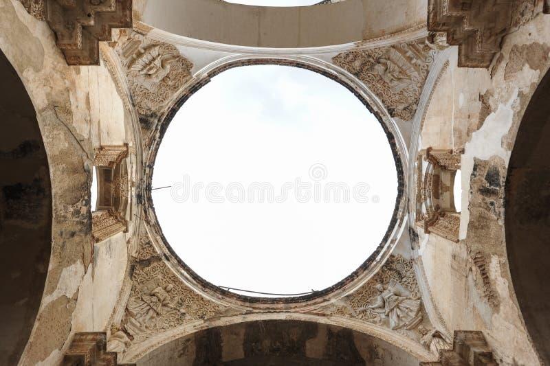 Ruines de la cathédrale chez l'Antigua photographie stock