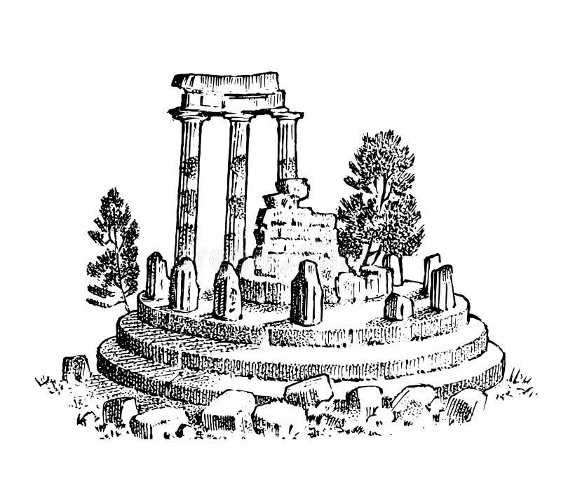 Ruines de la Gr?ce antique Colonnes grecques, paysage dans le style de cru Croquis gravé tiré par la main de cru pour l'affiche illustration libre de droits
