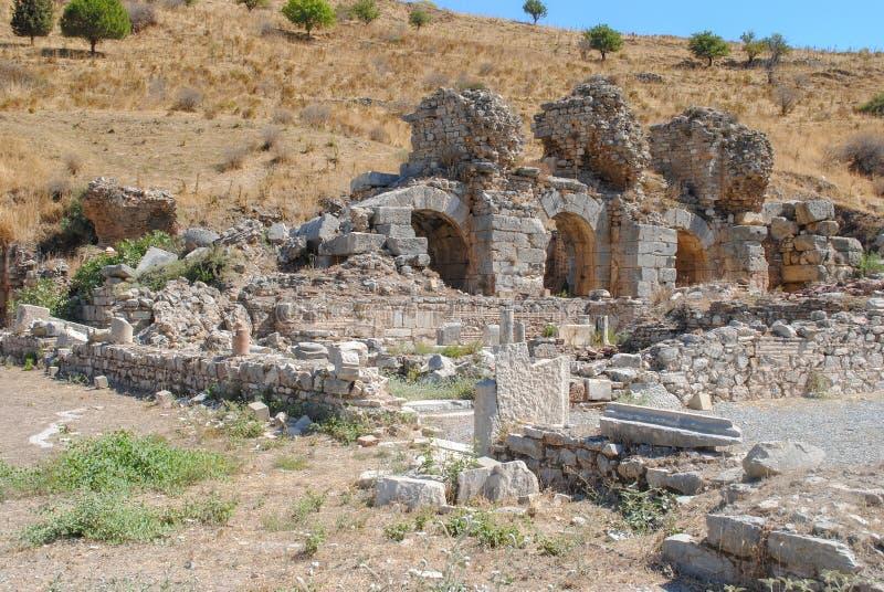 Ruines de la ville antique Ephesus, la ville du grec ancien en Turquie images libres de droits