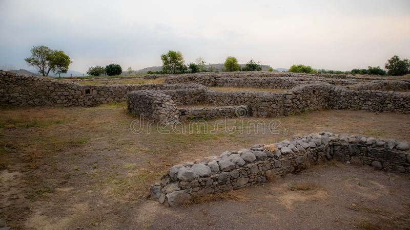 Ruines de la ville de Sirkap, Taxila, Pakistan photos libres de droits
