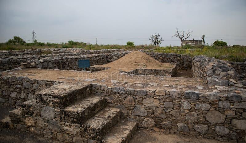 Ruines de la ville de Sirkap, Taxila, Pakistan photographie stock