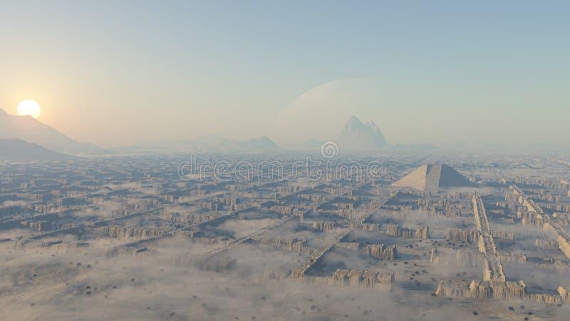 Ruines de labyrinthe dans le désert illustration de vecteur