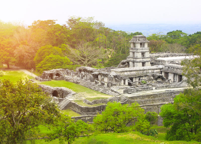 Ruines de palais royal, Palenque, Chiapas, Mexique photos stock