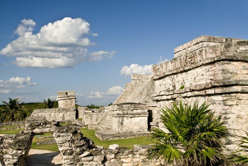 Ruines de pyramide dans Tulum Mexique photos stock