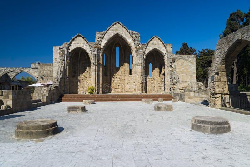 Ruines de Rhodes du 14ème siècle images libres de droits