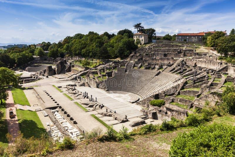 Ruines de Roman Theatre à Lyon photographie stock libre de droits