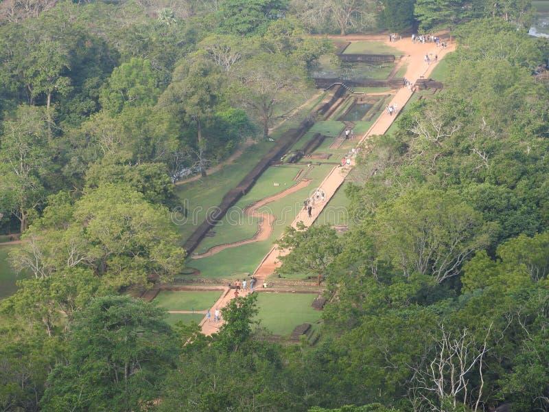 Ruines de Royal Palace sur la roche de lion, Sigiriya, Sri Lanka, site de patrimoine mondial de l'UNESCO photo libre de droits