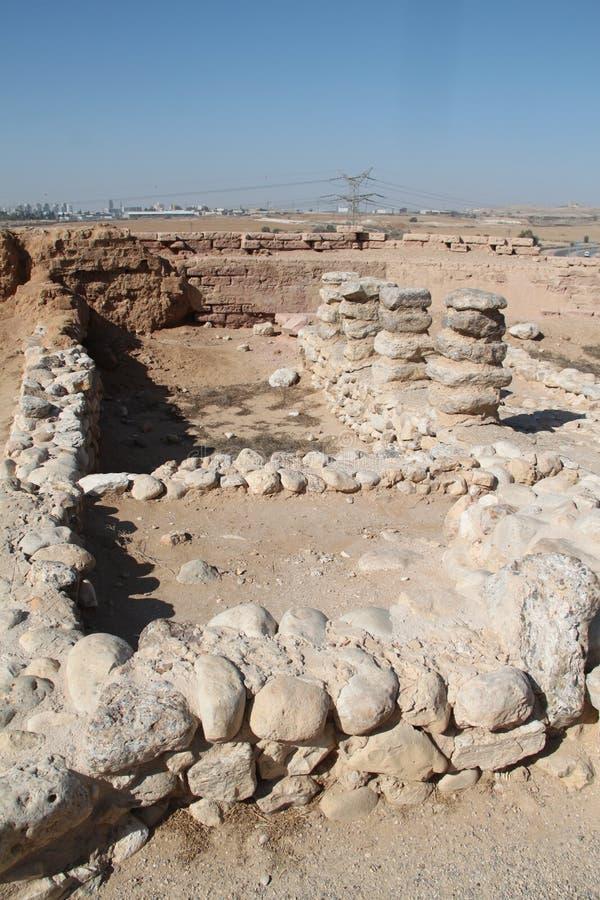 Ruines de Sheva de bière de téléphone, Israël image stock