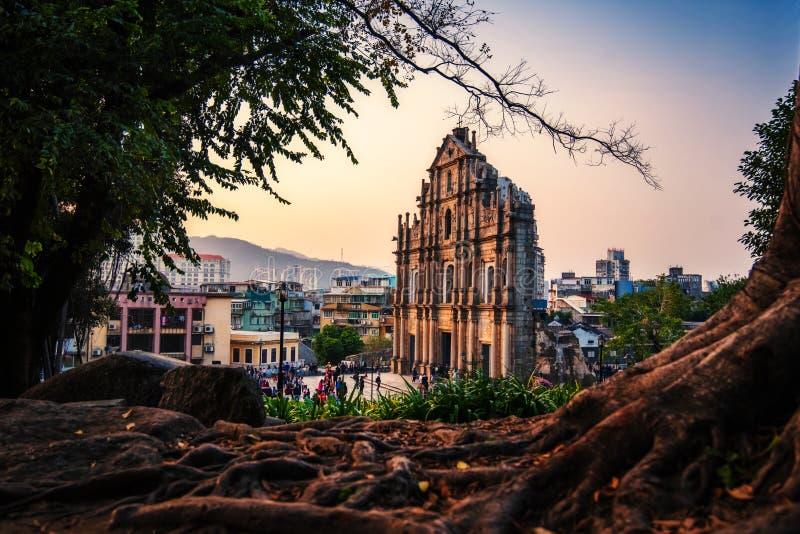 Ruines de St Paul, un de la plupart d'attraction touristique célèbre dans Macao, la Chine photographie stock libre de droits