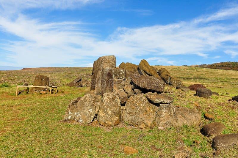 Ruines de statue de Moai, île de Pâques, Chili image libre de droits