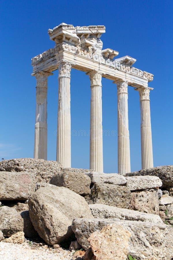 Ruines de temple d'Apollo dans le côté, Turquie photos libres de droits