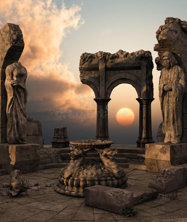 Ruines de temple d'imagination image libre de droits