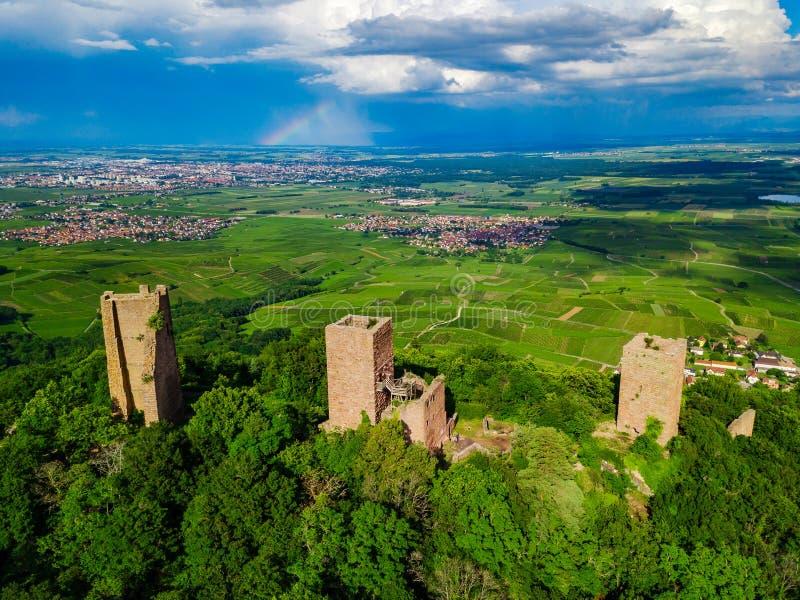 Ruines de trois châteaux près de Colmar, Alsace Vue aérienne de bourdon photographie stock