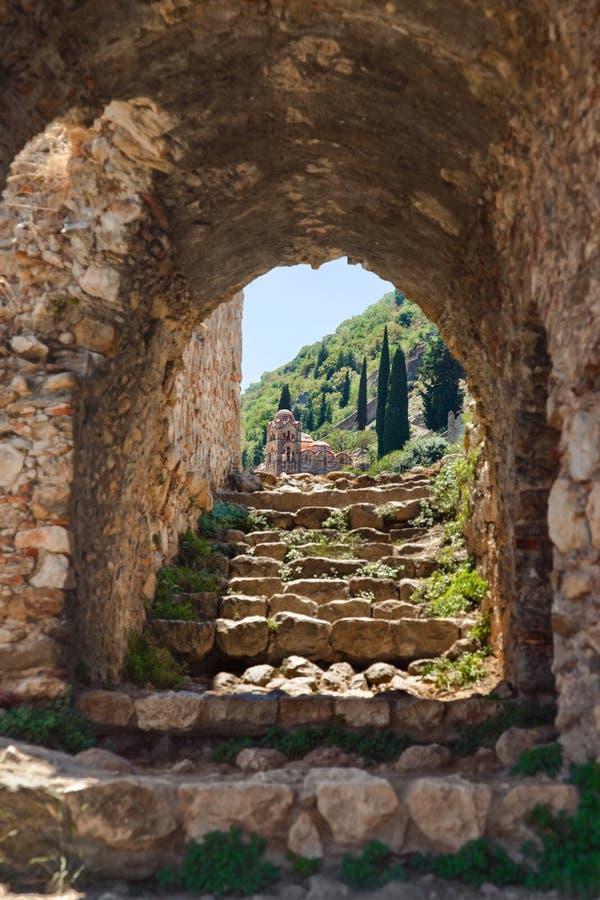 Ruines de vieille ville dans Mystras, Grèce photographie stock libre de droits