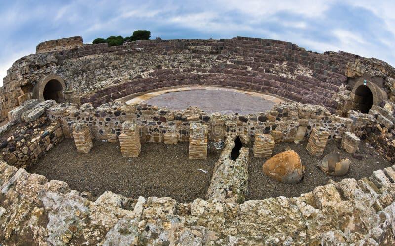 Ruines de vieille ville romaine de Nora, île de la Sardaigne photo stock