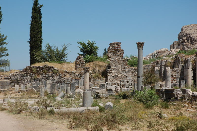 Ruines de ville antique d'Ephesus, Turquie image libre de droits