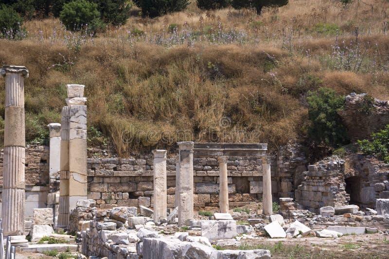 Ruines de ville antique d'Ephesus vieilles au jour ensoleillé, Izmir, Turquie Point de rep?re c?l?bre de turc photographie stock