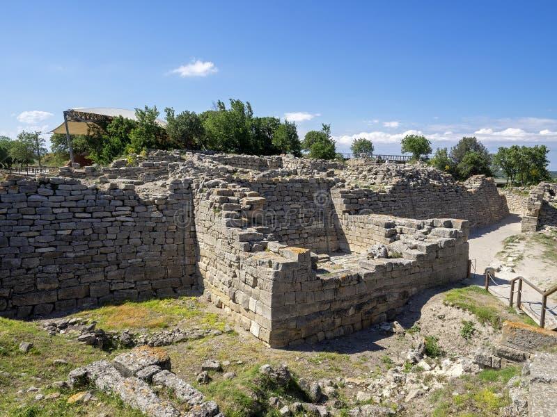 Ruines de ville antique de Troia, Canakkale les Dardanelles/Turquie images stock
