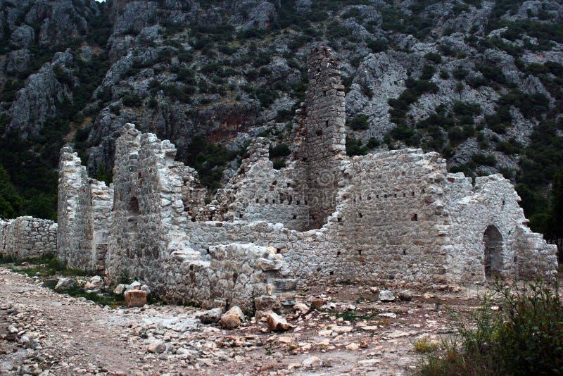 Ruines de ville du grec ancien d'Olympos près de Cirali, Turquie image libre de droits