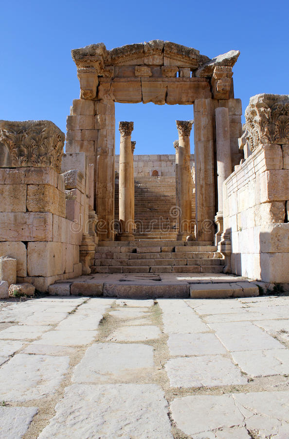 Ruines de ville gréco-romaine Gerasa. La Jordanie photo stock