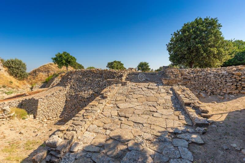 Ruines de ville légendaire antique de Troie photo stock