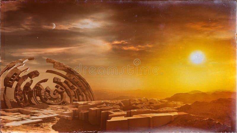 Ruines de ville sur la terre abandonnée illustration libre de droits