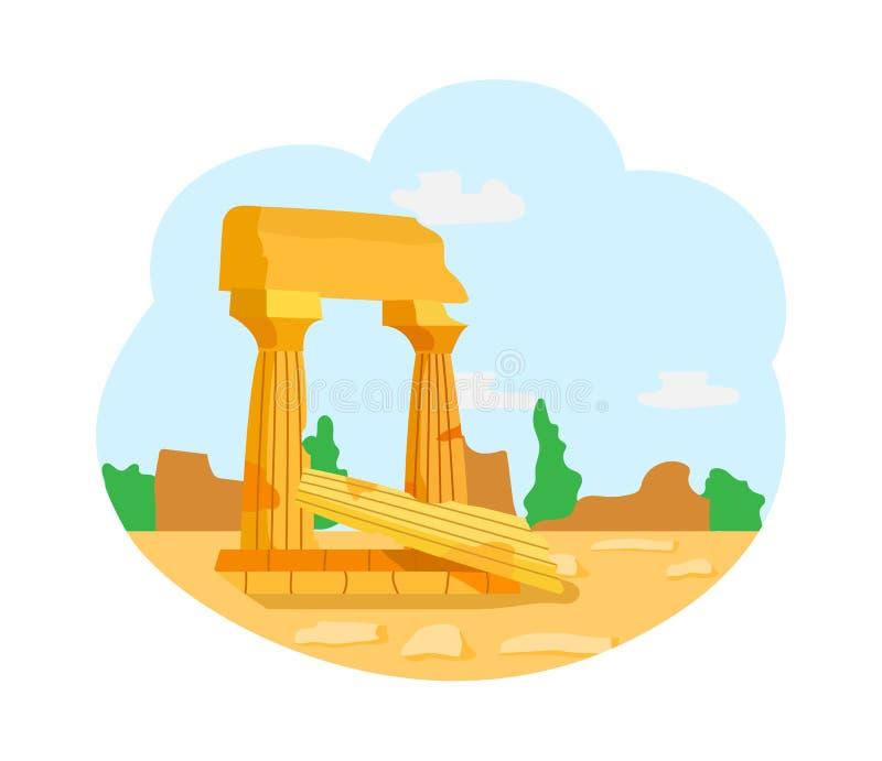 Ruines des civilisations antiques, monument de piliers illustration stock