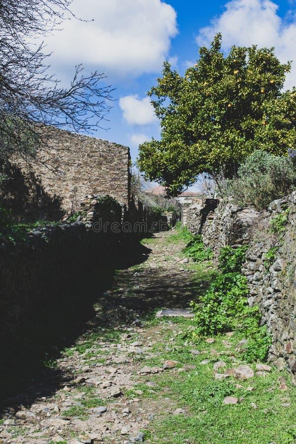 Ruines des maisons dans le village abandonné du passiflore photographie stock