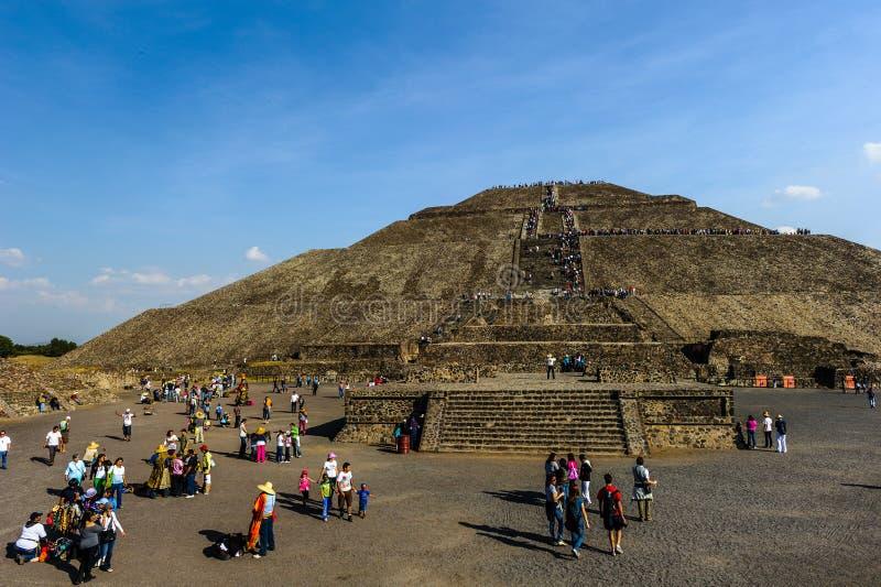 Ruines des pyramides de la ville précolombienne Teotihuacan, Mexique images libres de droits