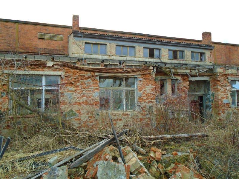 Ruines du bâtiment militaire de la deuxième guerre Bâtiments d'Armys photographie stock