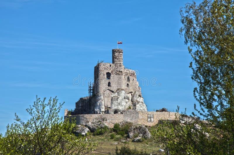 Ruines du château dans Mirow à côté de castel dans Bobolice Retranchez-vous dans le village de Mirow en Pologne photographie stock libre de droits