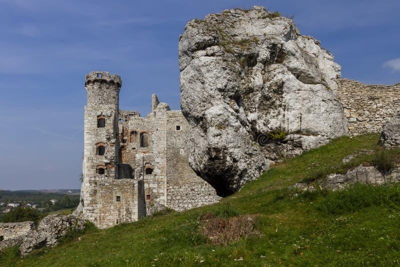 Ruines du château Ogrodzieniec - Pologne image libre de droits