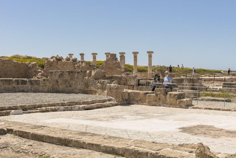 Ruines du grec ancien et de la ville romaine de Paphos images stock