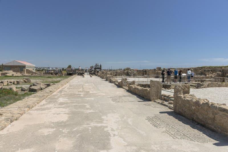 Ruines du grec ancien et de la ville romaine de Paphos photos stock