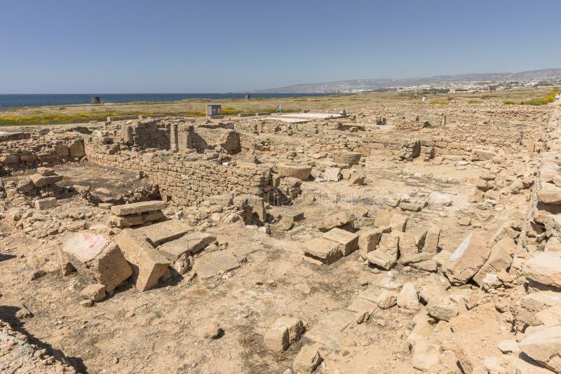 Ruines du grec ancien et de la ville romaine de Paphos image libre de droits