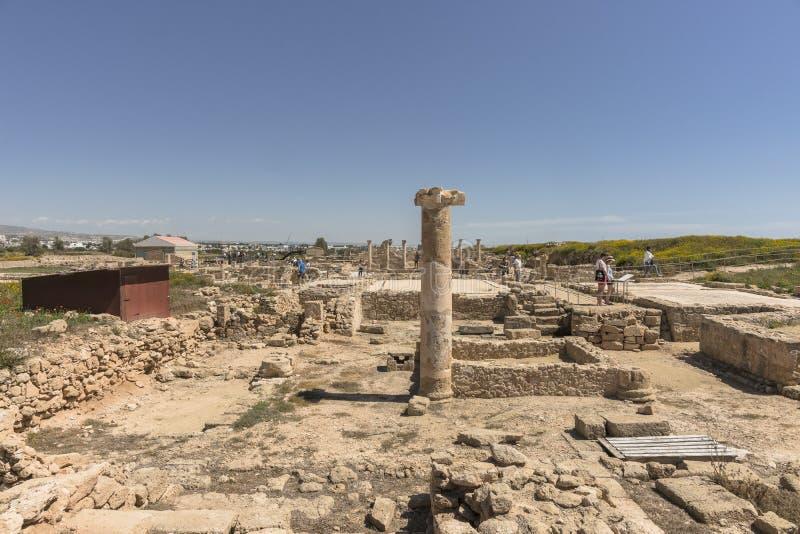 Ruines du grec ancien et de la ville romaine de Paphos photos libres de droits